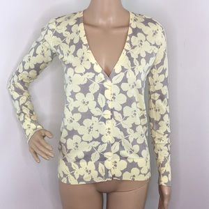 Old Navy Gray & Yellow Floral Cardigan